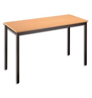 SODEMATUB Table polyvalente rectangulaire 120 x 60 cm hêtre/noir