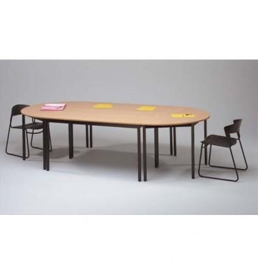 SODEMATUB Table polyvalente demi-rond diamètre 140 cm hêtre/noir