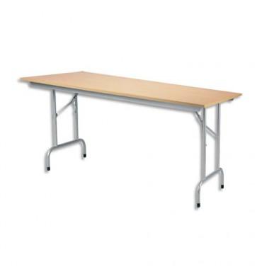 Table pliante Rico, plateau mélaminé Hêtre naturel et structure aluminium - L140 x P80 cm
