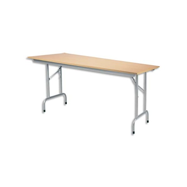 Table pliante Rico, plateau mélaminé Hêtre naturel et structure aluminium - L140 x P80 cm (photo)