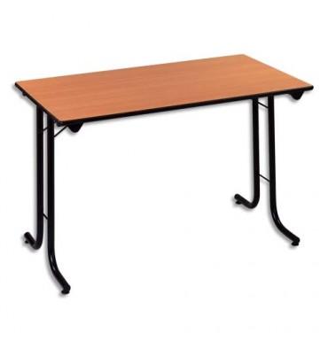 SODEMATUB Table polyvalente pliante rectangulaire 120 x 70 cm hêtre/noir