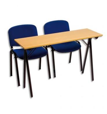 SODEMATUB Table formation séminaire hêtre piètement noir 2 places 120 x 40 cm