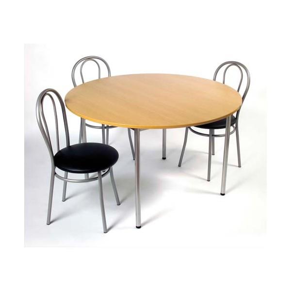SODEMATUB Table collectivité hêtre aluminium cafétéria ronde diamètre 120 cm (photo)