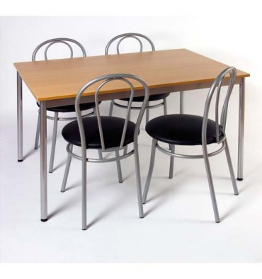 SODEMATUB Table collectivité hêtre aluminium cafétéria rectangle 120 x 80 cm