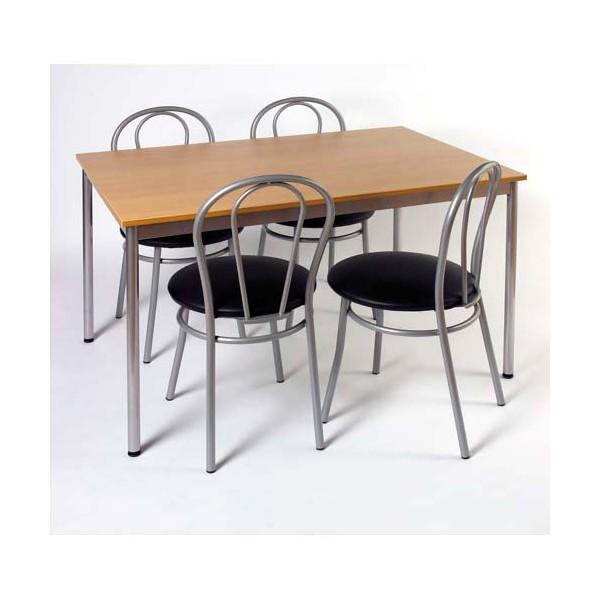 SODEMATUB Table collectivité hêtre aluminium cafétéria rectangle 120 x 80 cm (photo)