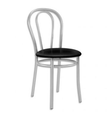 Chaise collectivité Tulipan, assise simili cuir noir et structure alu - Assise D41 cm, hauteur 48/86 cm
