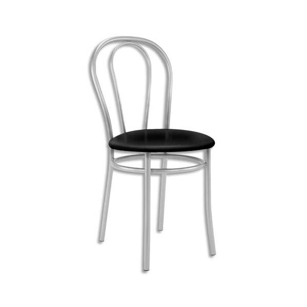 Chaise collectivité Tulipan, assise simili cuir noir et structure alu - Assise D41 cm, hauteur 48/86 cm (photo)