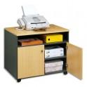 SIMMOB Meuble photocopieur 2 portes + tablette et niche coloris hêtre / anthracite