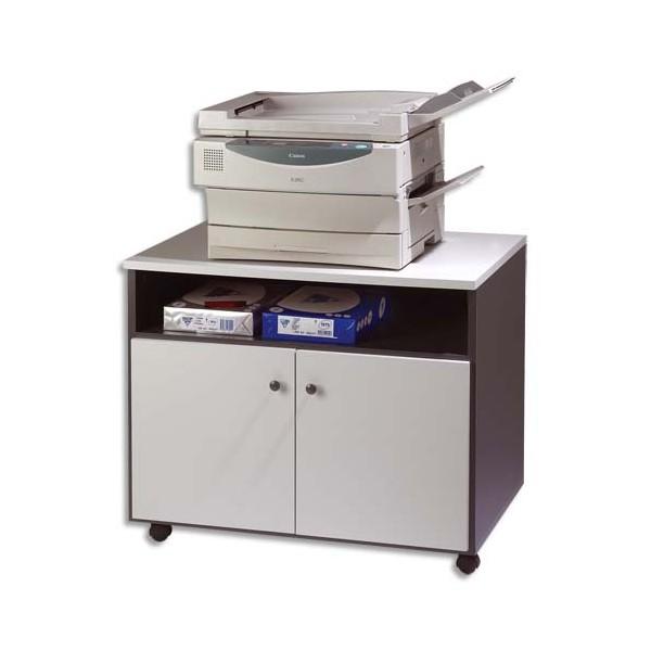 SIMMOB Meuble photocopieur 2 portes + tablette et niche - coloris gris