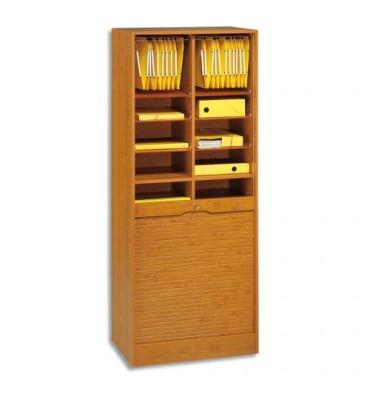 SIMMOB Classeur à rideaux bois hauteur 170 cm modèle double largeur (70cm) coloris merisier