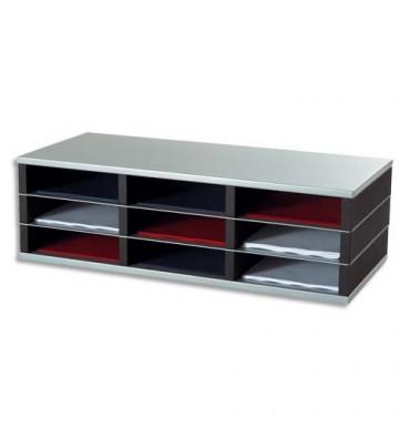 PAPERFLOW Trieur 9 cases A4 élément départ R3 - L75 x H23,2 x P32,8 cm coloris noir/alu