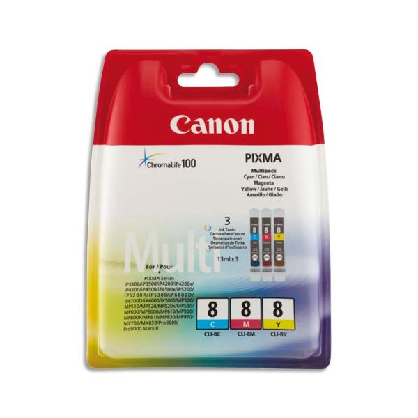 CANON Cartouches multipack jet d'encre cyan, magenta, jaune CLI-8