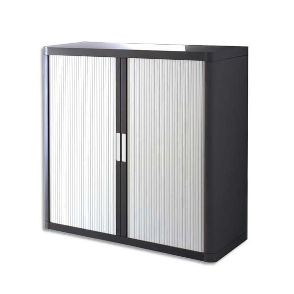 paperflow armoire basse d montable easyoffice corps teint noir et rideau blanc. Black Bedroom Furniture Sets. Home Design Ideas