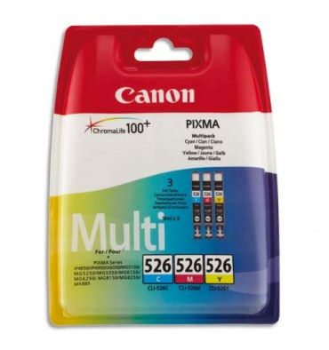 CANON Cartouches multipack jet d'encre cyan, magenta, jaune CLI-526