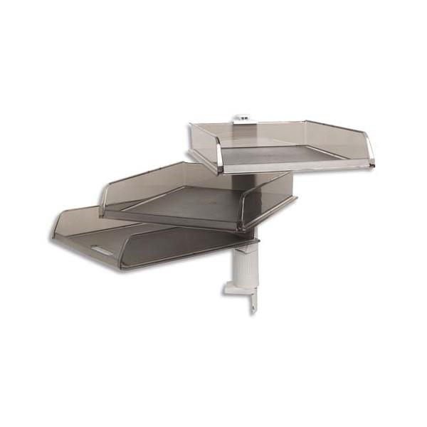 EXACOMPTA Colonne rotative de 3 corbeilles à courrier en polystyrène gris, Dimensions 29 x 31,5 x 36 cm
