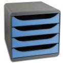 EXACOMPTA Module de classement Big-Box Gris / Bleu glacé - 4 tiroirs, en polystyrène format A4+ - 27,8 x 26,7 x 34,7 cm