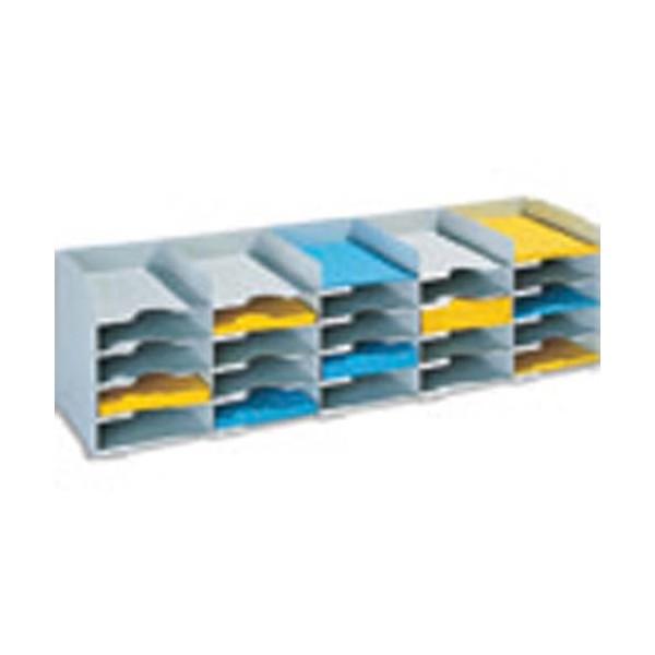 PAPERFLOW Bloc classeur à 20 cases fixes pour doc A4 capacité 500 feuilles 89,7 x 31,3 x 30,4 cm gris