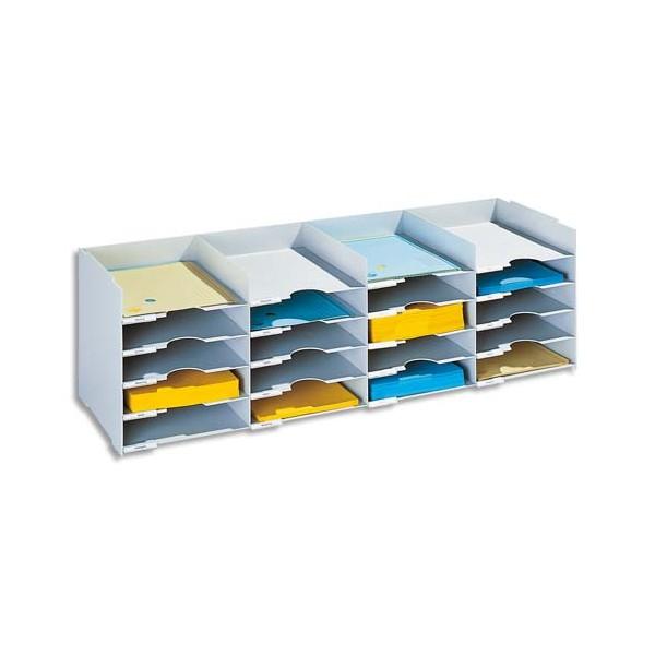 PAPERFLOW Bloc classeur à 25 cases fixes pour doc A4 capacité 500 feuilles 112 x 31,3 x 30,4 cm gris