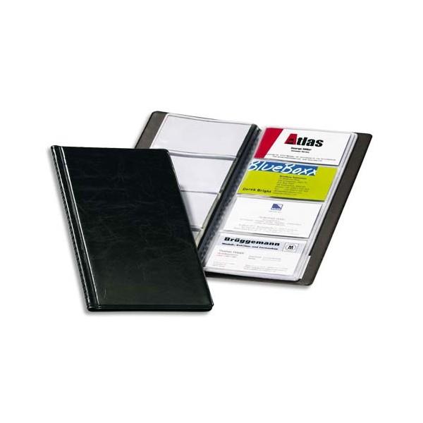 DURABLE Porte-cartes de visite Visifix noir capacité 96 cartes aspect grain de cuir (photo)