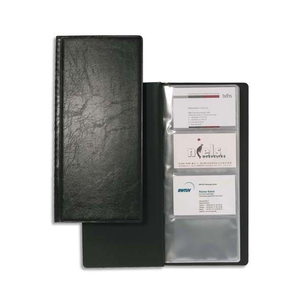 DURABLE Porte-cartes de visite Visifix noir capacité 192 cartes aspect grain de cuir (photo)