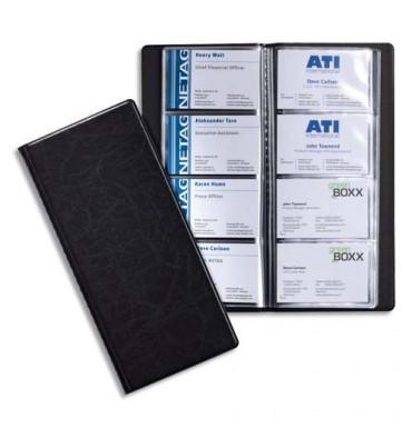DURABLE Porte-cartes de visite Visifix noir capacité 128 cartes aspect grain de cuir
