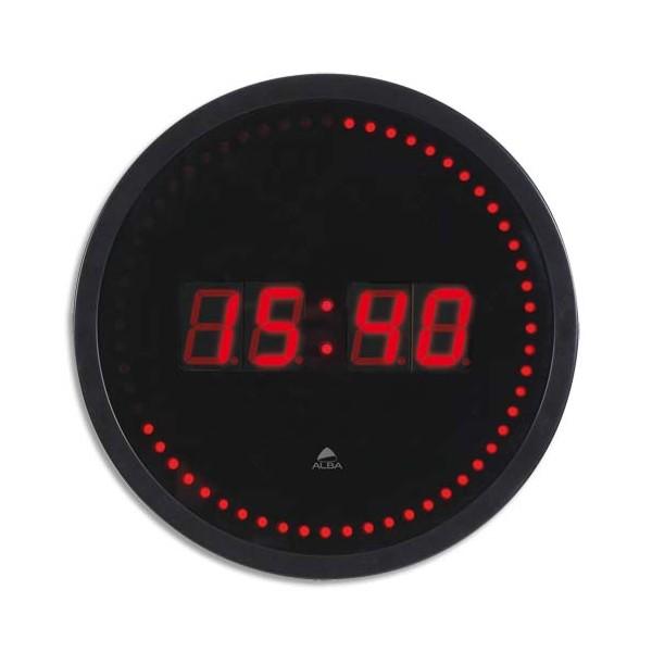 ALBA Horloge à led Horled cadre plastique noir lentille en verre D 30 cm affichage numérique rouge à quartz (photo)
