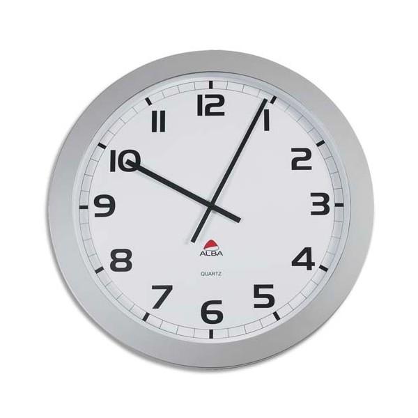 ALBA Horloge murale géante Horgiant contour ABS D60 cm gris, chiffres noirs lentille en verre à quartz (photo)