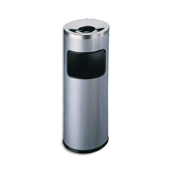 DURABLE Corbeille à papier métal et cendrier étouffoir gris anthracite 17 + 2 litres - D25 x H 63 cm