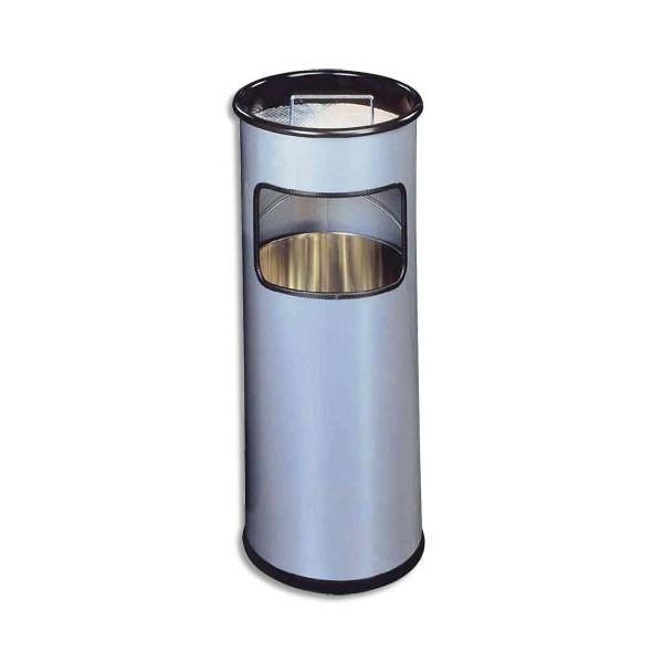 DURABLE Corbeille ronde avec cendrier sable argenté 17+ 2 Litres - D26 x H 62 cm