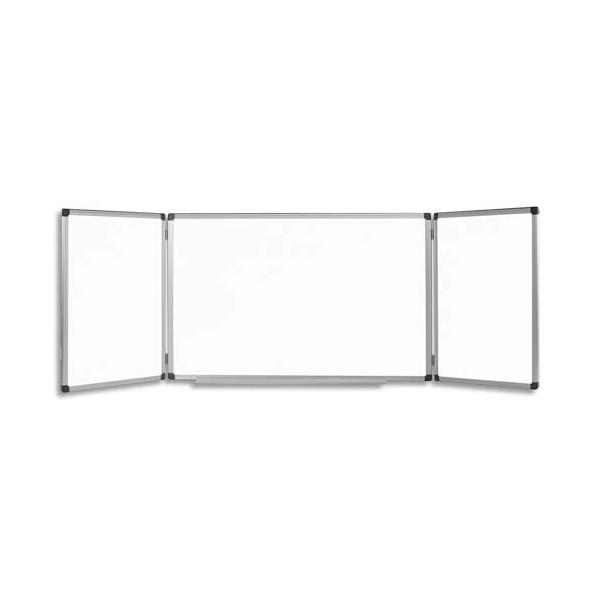 BI-OFFICE Tableau Bi-Office laqué triptyque coloris blanc, format 300 x 100 cm