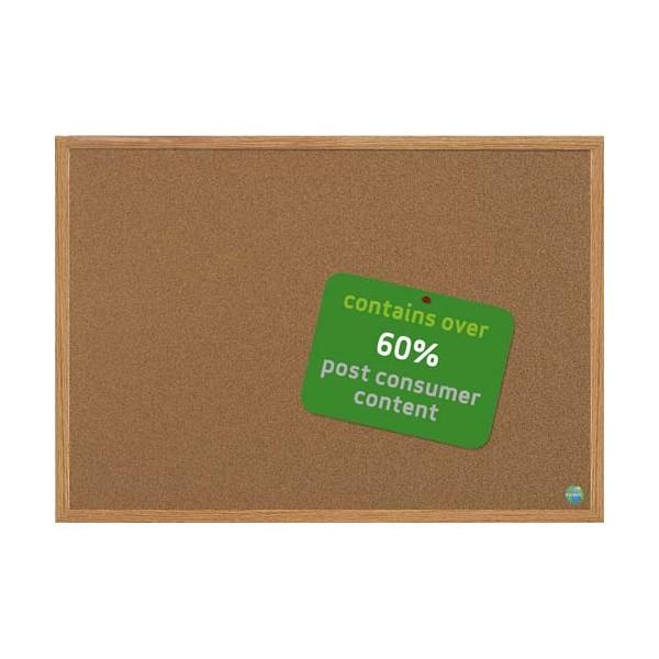 BI-OFFICE Tableau liège recyclable cadre finition bois, format 45 x 60 cm