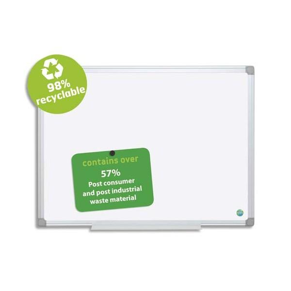 BI-OFFICE Tableau blanc émaillé recyclable cadre aluminium, format 90 x 120 cm