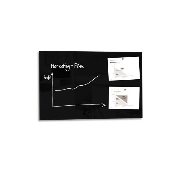 sigel tableau magn tique verre tremp s curit noir l100 x h65 x p 1 5 cm. Black Bedroom Furniture Sets. Home Design Ideas