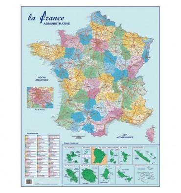 CBG Carte France Administrative, Routière et Dom-Tom murale - Pelliculée 66 x 84,5 cm