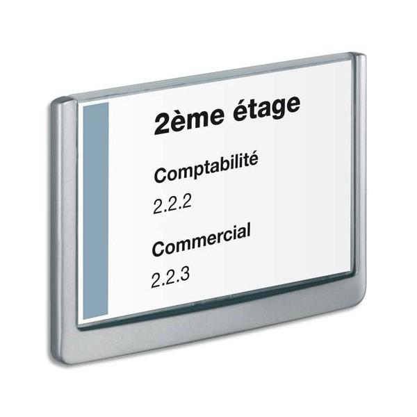 DURABLE Plaque de porte CLICKSIGN Gris en ABS - Fiche Bristol fournie, 21 x 14,85 cm