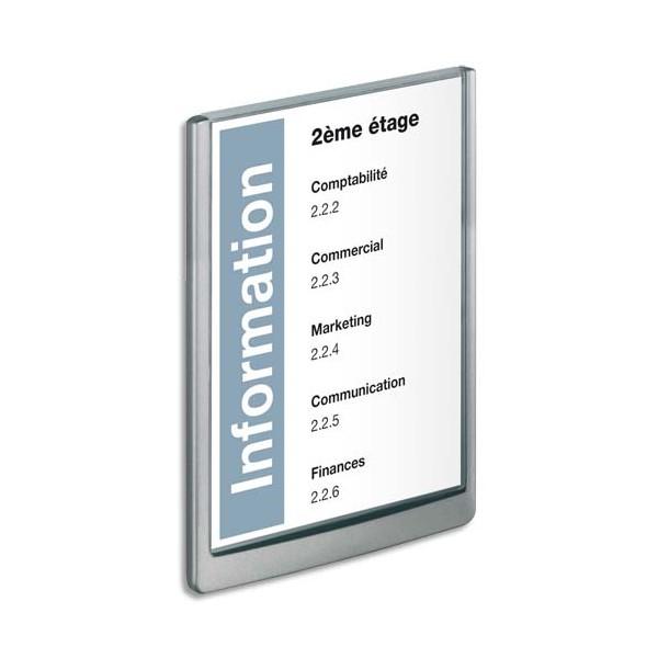 DURABLE Plaque de porte CLICKSIGN Gris en ABS - Fiche Bristol fournie, 21 x 29,7 cm