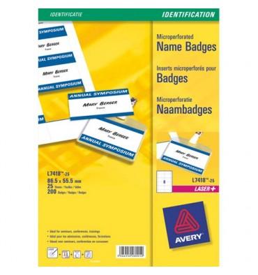 AVERY Pochette de 200 étiquettes pour badges à clip plastique format 5,5 x 8,6 cm