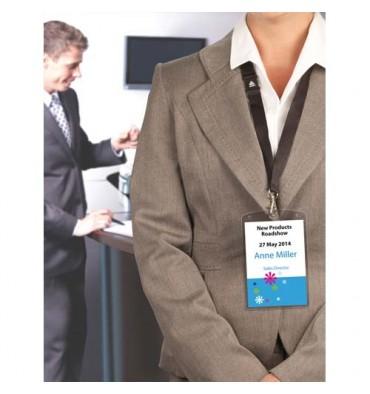 AVERY Paquet de 10 pochettes badges format A6 transparentes + 12 inserts imprimables A4 et 10 lacets noir