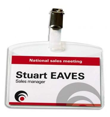 AVERY Boîte de 25 porte-badges à pince 6 x 9 cm plastique souple transparent + 32 inserts micro-perforés