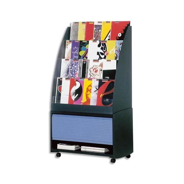 PAPERFLOW Réserve de rangement pour présentoir accueil coloris noir / bleu, 33,5 x 71,7 x 38 cm