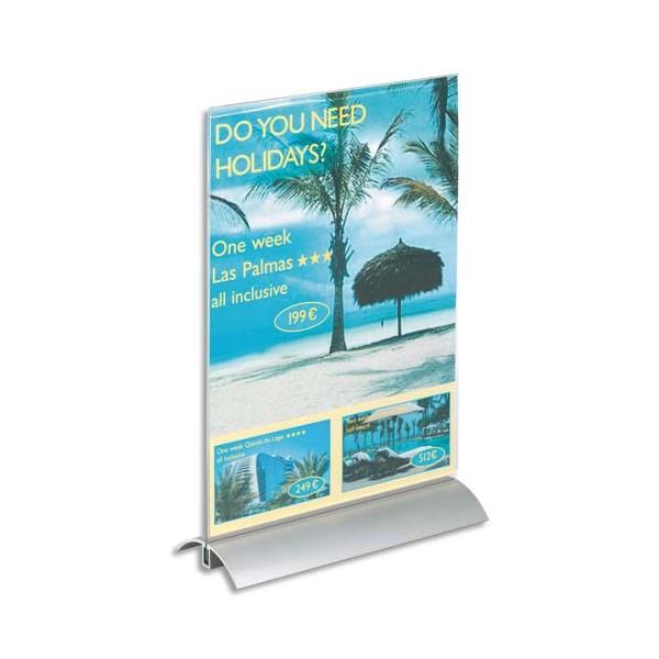 DURABLE Présentoir de table base en aluminium et plaque transparente A4 - L21,2 x H32,3 x P8,5 cm