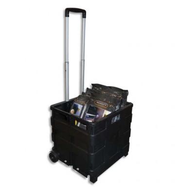 VISO Casier Trolley pliable en polypropylène - Dimensions ouvert 42 x 38 x 40 cm noir