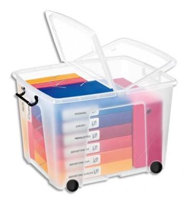 CEP Boîte de rangement Smart Box Strata avec couvercle clipsé et roues transparent 75L