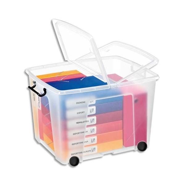 CEP Boîte de rangement Smart Box Strata avec couvercle clipsé et roues transparent 75L (photo)