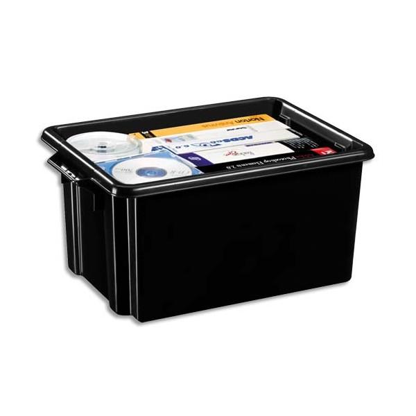 CEP Bac de rangement superposable avec poignée de 32 litres coloris noir (photo)