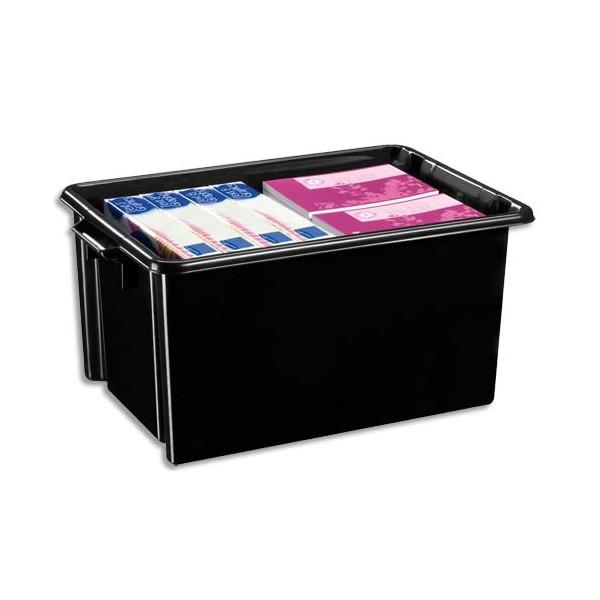 CEP Bac de rangement superposable avec poignée de 48,5 litres coloris noir (photo)