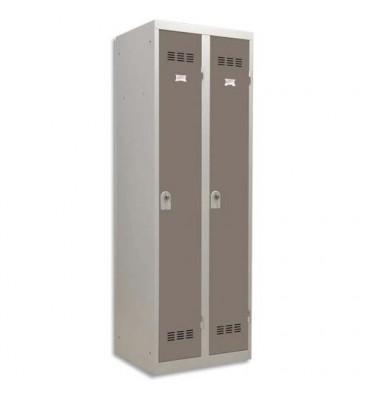 PIERRE HENRY Vestiaire métal industrie propre 2 casiers largeur 60 cm gris perle basalte