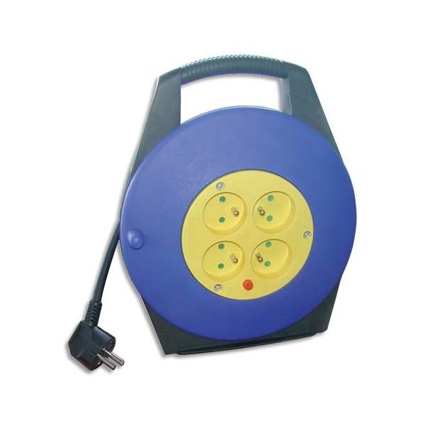 SAFETOOL Enrouleur électrique 10 m avec sécurité thermique 4 prises 16A / 250 V
