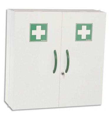 ROSSIGNOL Armoire à pharmacie blanche 2 portes fermeture magnétique et serrure à clé 52 x 54 x 20 cm