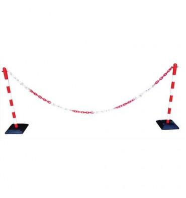 VISO Kit poteaux chaîne plastique rouge et blanc